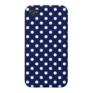 Navy Blue and White Polka Dot Pattern Cover For iPhone 4