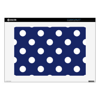 Navy Blue and White Polka Dot Pattern Decals For Laptops