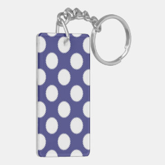Navy Blue and White Polka Dot Pattern Double-Sided Rectangular Acrylic Keychain