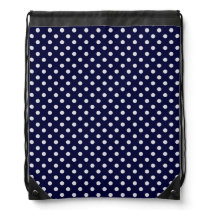 Navy Blue and White Polka Dot Pattern Drawstring Backpack