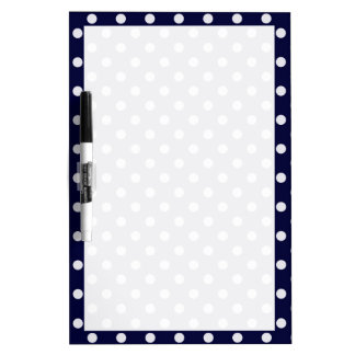 Navy Blue and White Polka Dot Pattern Dry-Erase Board