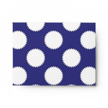 Beach Themed Navy Blue and White Polka Dot Pattern Envelope