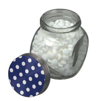Navy Blue and White Polka Dot Pattern Glass Jar