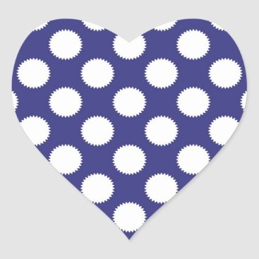 Beach Themed Navy Blue and White Polka Dot Pattern Heart Sticker