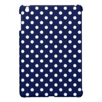 Navy Blue and White Polka Dot Pattern iPad Mini Cover