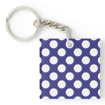 Beach Themed Navy Blue and White Polka Dot Pattern Keychain