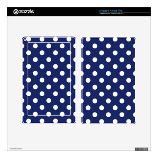 Navy Blue and White Polka Dot Pattern Kindle Fire Decals