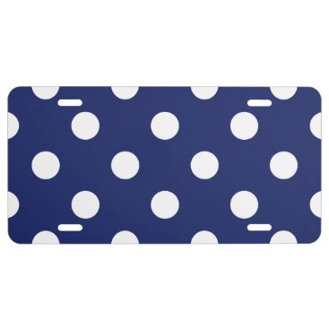 Beach Themed Navy Blue and White Polka Dot Pattern License Plate