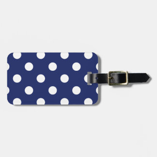 Navy Blue and White Polka Dot Pattern Luggage Tag