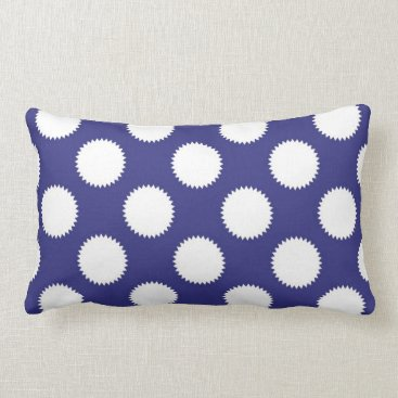Beach Themed Navy Blue and White Polka Dot Pattern Lumbar Pillow