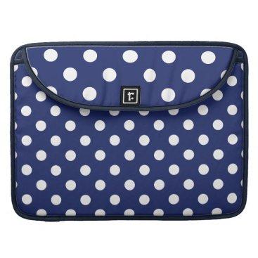 Beach Themed Navy Blue and White Polka Dot Pattern MacBook Pro Sleeve