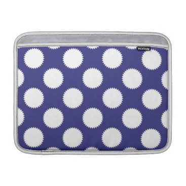 Beach Themed Navy Blue and White Polka Dot Pattern MacBook Sleeve