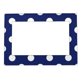 Navy Blue and White Polka Dot Pattern Magnetic Frame