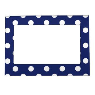 Navy Blue and White Polka Dot Pattern Magnetic Photo Frame