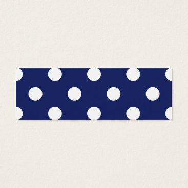 Beach Themed Navy Blue and White Polka Dot Pattern Mini Business Card