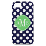 Navy Blue and White Polka Dot Pattern Monogram iPhone 5 Covers