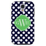 Navy Blue and White Polka Dot Pattern Monogram Galaxy S4 Case