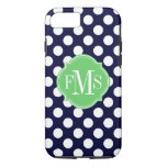 Navy Blue and White Polka Dot Pattern Monogram iPhone 7 Case