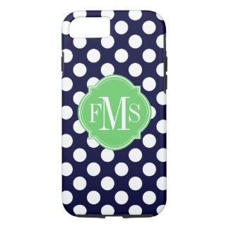 Navy Blue and White Polka Dot Pattern Monogram iPhone 8/7 Case