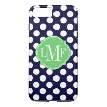 Navy Blue and White Polka Dot Pattern Monogram iPhone 8 Plus/7 Plus Case