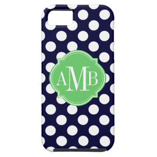 Navy Blue and White Polka Dot Pattern Monogram iPhone SE/5/5s Case