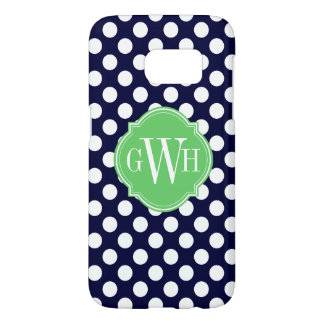 Navy Blue and White Polka Dot Pattern Monogram Samsung Galaxy S7 Case