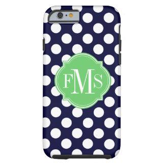 Navy Blue and White Polka Dot Pattern Monogram Tough iPhone 6 Case