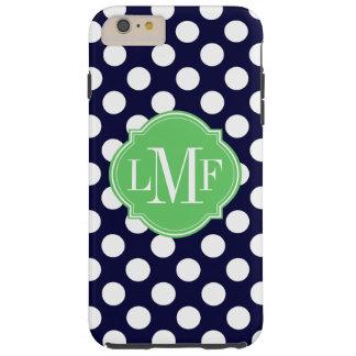 Navy Blue and White Polka Dot Pattern Monogram Tough iPhone 6 Plus Case