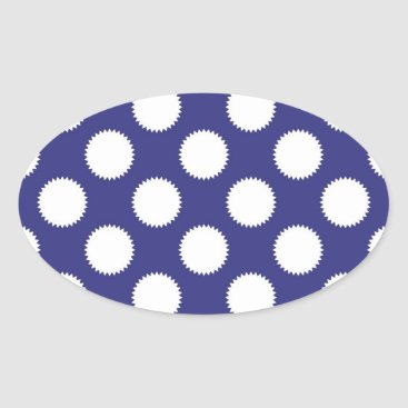 Beach Themed Navy Blue and White Polka Dot Pattern Oval Sticker