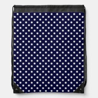 Navy Blue and White Polka Dot Pattern Drawstring Backpack