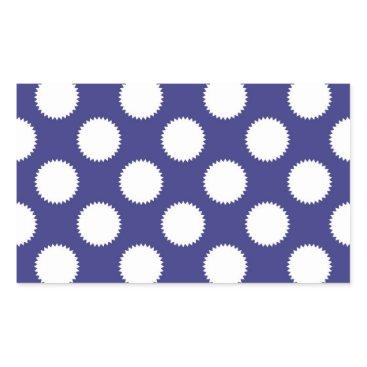 Beach Themed Navy Blue and White Polka Dot Pattern Rectangular Sticker