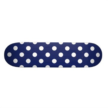 Beach Themed Navy Blue and White Polka Dot Pattern Skateboard Deck