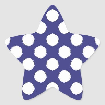 Beach Themed Navy Blue and White Polka Dot Pattern Star Sticker