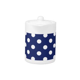 Navy Blue and White Polka Dot Pattern Teapot
