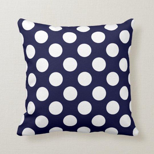 Navy Blue and White Polka Dot Pattern Throw Pillow Zazzle
