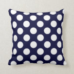 Navy Blue and White Polka Dot Pattern Throw Pillow