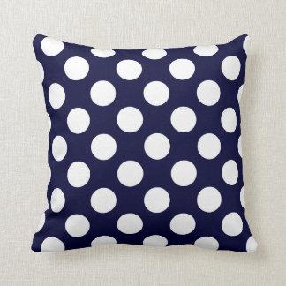 Navy Blue and White Polka Dot Pattern Throw Pillow