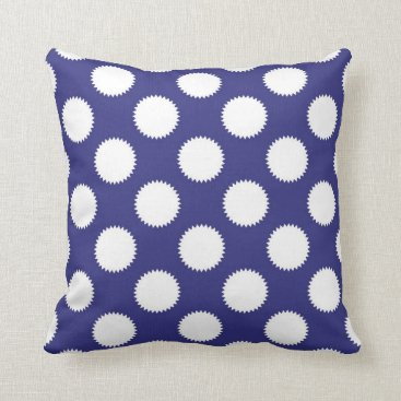 Beach Themed Navy Blue and White Polka Dot Pattern Throw Pillow