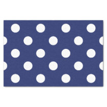 Navy Blue and White Polka Dot Pattern Tissue Paper