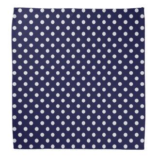 Navy Blue and White Polka Dot Pattern Bandanas