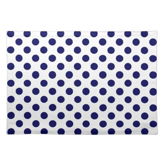 Navy Blue And White Polka Dot Placemats Zazzle Com