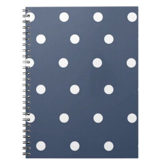 Navy Blue and White Polka Dot Spiral Notebook