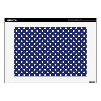 """Navy Blue and White Polka Dots Pattern 15"""" Laptop Decal"""
