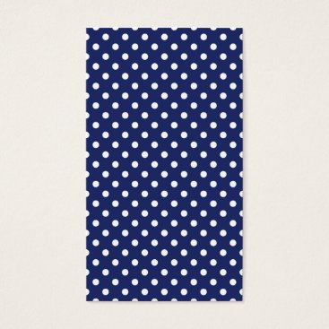 Beach Themed Navy Blue and White Polka Dots Pattern Business Card