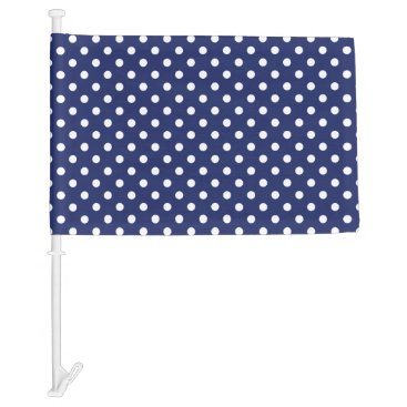 Beach Themed Navy Blue and White Polka Dots Pattern Car Flag