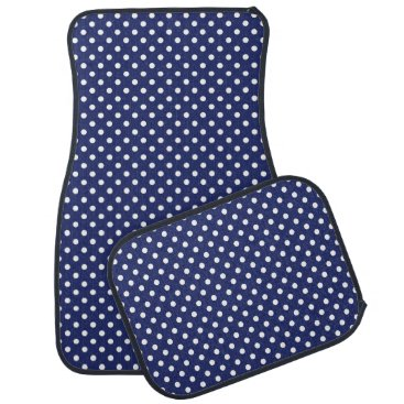 Beach Themed Navy Blue and White Polka Dots Pattern Car Floor Mat