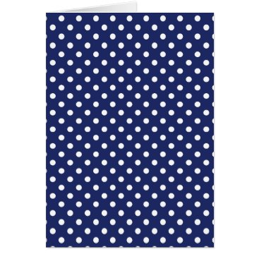 Beach Themed Navy Blue and White Polka Dots Pattern Card