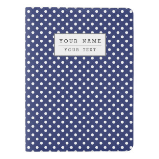 Navy Blue and White Polka Dots Pattern Extra Large Moleskine Notebook