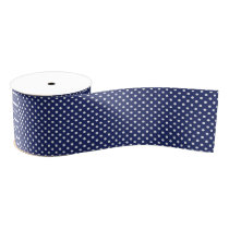 Navy Blue and White Polka Dots Pattern Grosgrain Ribbon