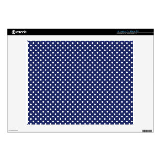 Navy Blue and White Polka Dots Pattern Laptop Decal